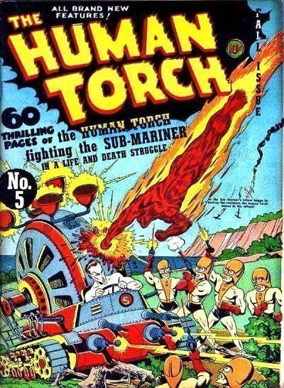 HUMAN TORCH #5 Fall 1941 (b) (Ka-Zar is warned by Human Torch about Sub-Mariner flooding jungle)