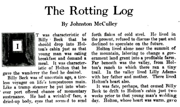 ''THE ROTTING LOG'' by Johnston McCulley (The PACIFIC MONTHLY - May 1906) pg. 1
