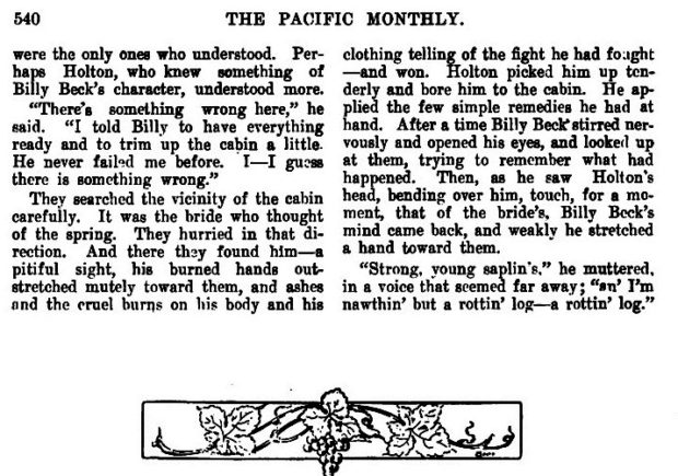 ''THE ROTTING LOG'' by Johnston McCulley (The PACIFIC MONTHLY - May 1906) pg. 5