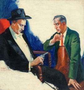 Sidney Reisenberg Original Painting for Complete Detective Novel Magazine